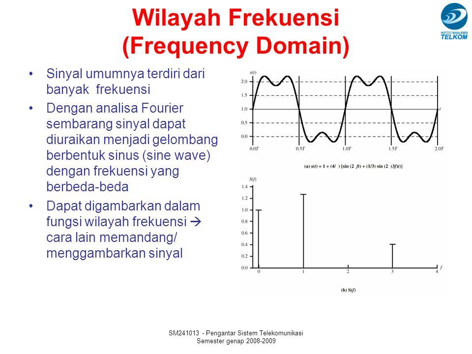 SM241013 - Pengantar Sistem Telekomunikasi Semester genap 2008-2009 Wilayah Frekuensi (Frequency Domain) Sinyal umumnya terdiri dari banyak frekuensi Dengan analisa Fourier sembarang sinyal dapat diuraikan menjadi gelombang berbentuk sinus (sine wave) dengan frekuensi yang berbeda-beda Dapat digambarkan dalam fungsi wilayah frekuensi  cara lain memandang/ menggambarkan sinyal