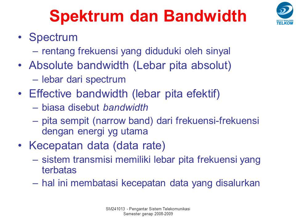 SM241013 - Pengantar Sistem Telekomunikasi Semester genap 2008-2009 Spektrum dan Bandwidth Spectrum –rentang frekuensi yang diduduki oleh sinyal Absolute bandwidth (Lebar pita absolut) –lebar dari spectrum Effective bandwidth (lebar pita efektif) –biasa disebut bandwidth –pita sempit (narrow band) dari frekuensi-frekuensi dengan energi yg utama Kecepatan data (data rate) –sistem transmisi memiliki lebar pita frekuensi yang terbatas –hal ini membatasi kecepatan data yang disalurkan