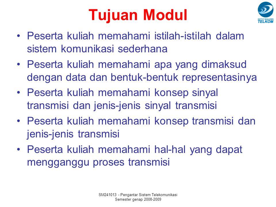 SM241013 - Pengantar Sistem Telekomunikasi Semester genap 2008-2009 Tujuan Modul Peserta kuliah memahami istilah-istilah dalam sistem komunikasi seder