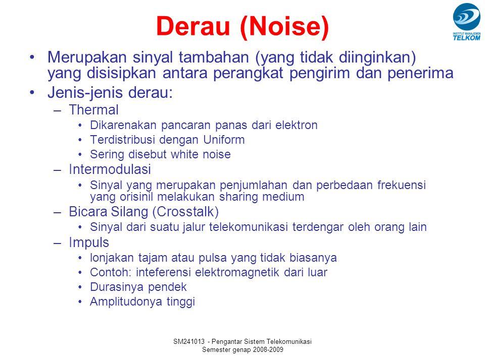 SM241013 - Pengantar Sistem Telekomunikasi Semester genap 2008-2009 Derau (Noise) Merupakan sinyal tambahan (yang tidak diinginkan) yang disisipkan antara perangkat pengirim dan penerima Jenis-jenis derau: –Thermal Dikarenakan pancaran panas dari elektron Terdistribusi dengan Uniform Sering disebut white noise –Intermodulasi Sinyal yang merupakan penjumlahan dan perbedaan frekuensi yang orisinil melakukan sharing medium –Bicara Silang (Crosstalk) Sinyal dari suatu jalur telekomunikasi terdengar oleh orang lain –Impuls lonjakan tajam atau pulsa yang tidak biasanya Contoh: inteferensi elektromagnetik dari luar Durasinya pendek Amplitudonya tinggi