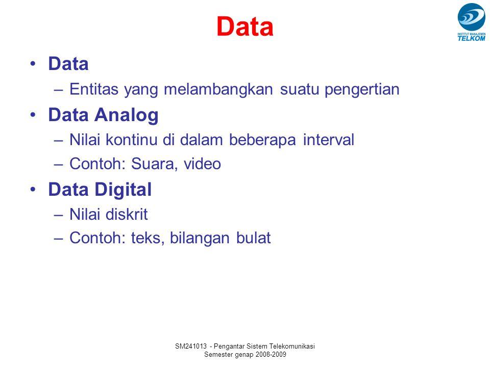 SM241013 - Pengantar Sistem Telekomunikasi Semester genap 2008-2009 Data –Entitas yang melambangkan suatu pengertian Data Analog –Nilai kontinu di dalam beberapa interval –Contoh: Suara, video Data Digital –Nilai diskrit –Contoh: teks, bilangan bulat