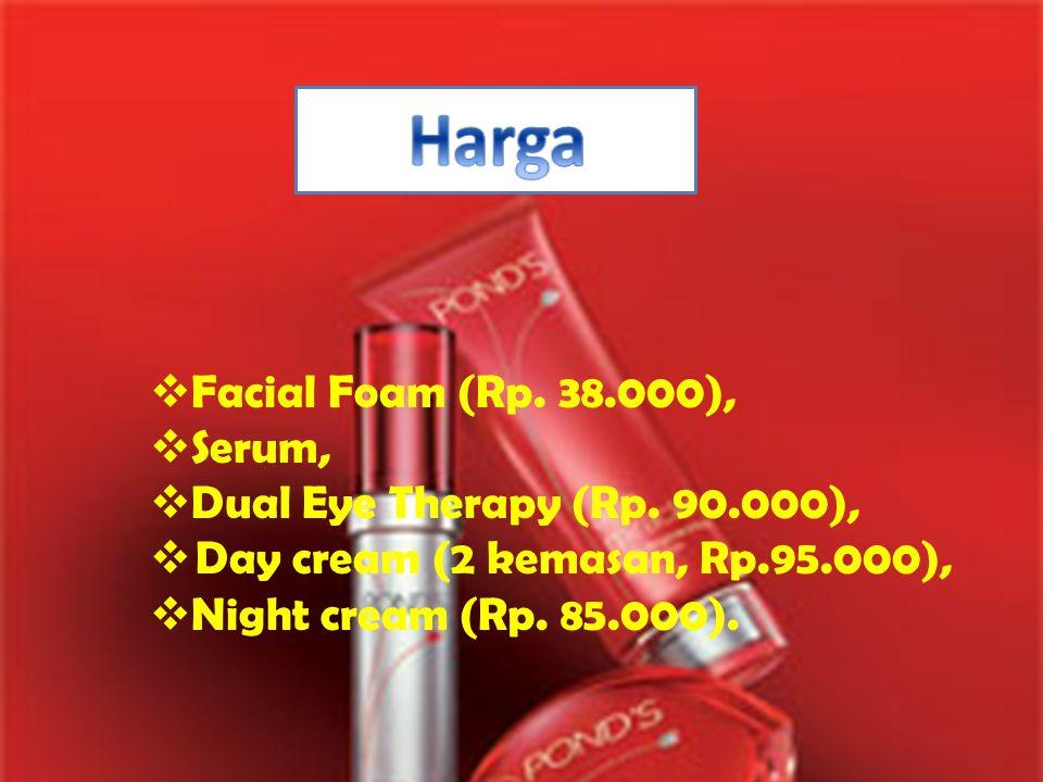  Facial Foam (Rp. 38.000),  Serum,  Dual Eye Therapy (Rp. 90.000),  Day cream (2 kemasan, Rp.95.000),  Night cream (Rp. 85.000).