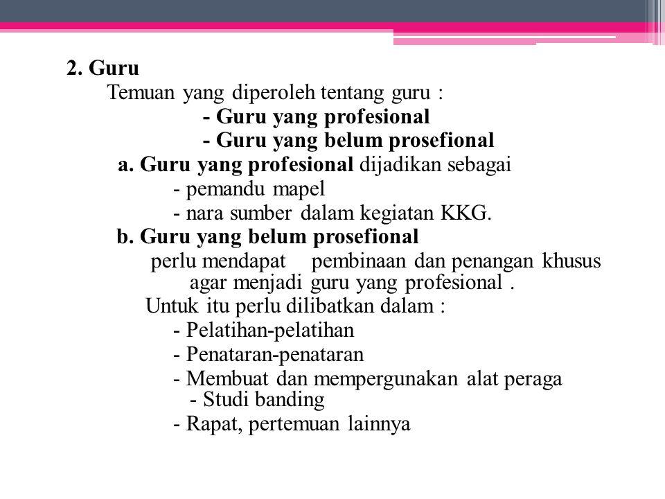 2. Guru Temuan yang diperoleh tentang guru : - Guru yang profesional - Guru yang belum prosefional a. Guru yang profesional dijadikan sebagai - pemand