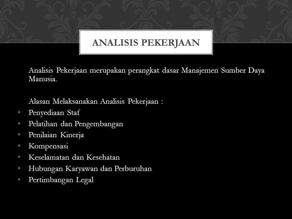 LANGKAH-LANGKAH ANALISIS JABATAN Tentukan kegunaan hasil informasi analisis jabatan.