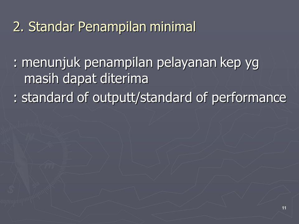 11 2. Standar Penampilan minimal : menunjuk penampilan pelayanan kep yg masih dapat diterima : standard of outputt/standard of performance
