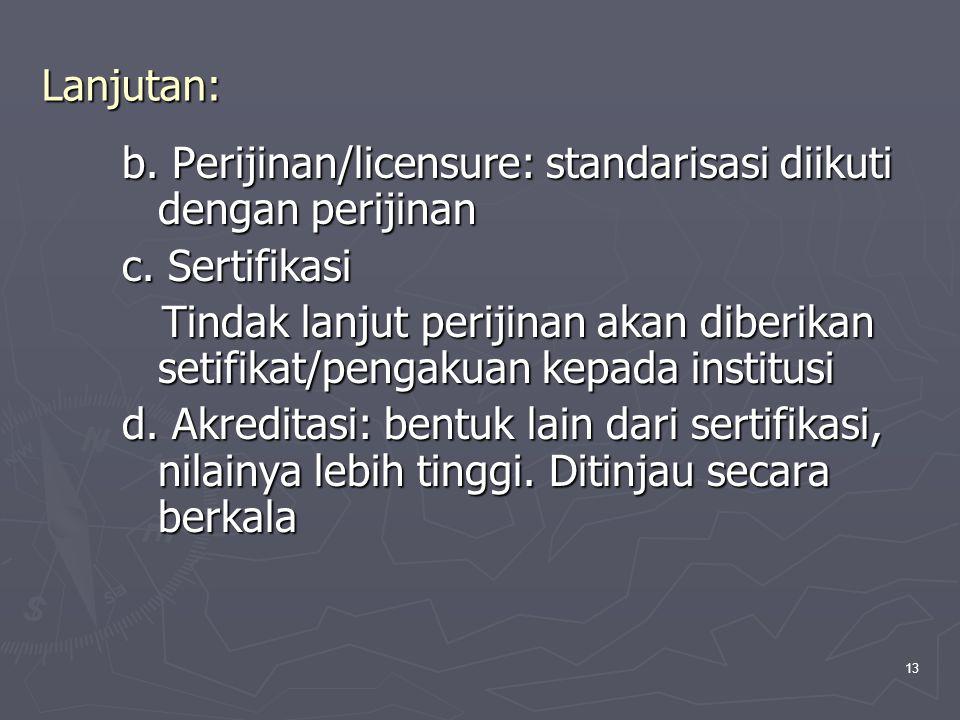 13 Lanjutan: b. Perijinan/licensure: standarisasi diikuti dengan perijinan c. Sertifikasi Tindak lanjut perijinan akan diberikan setifikat/pengakuan k