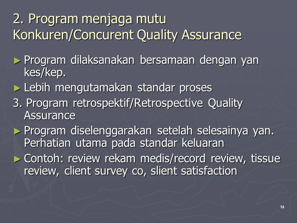 14 2. Program menjaga mutu Konkuren/Concurent Quality Assurance ► Program dilaksanakan bersamaan dengan yan kes/kep. ► Lebih mengutamakan standar pros