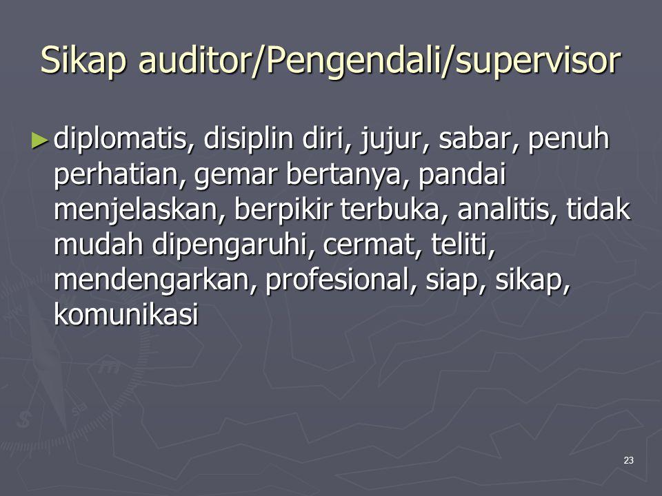 23 Sikap auditor/Pengendali/supervisor ► diplomatis, disiplin diri, jujur, sabar, penuh perhatian, gemar bertanya, pandai menjelaskan, berpikir terbuk