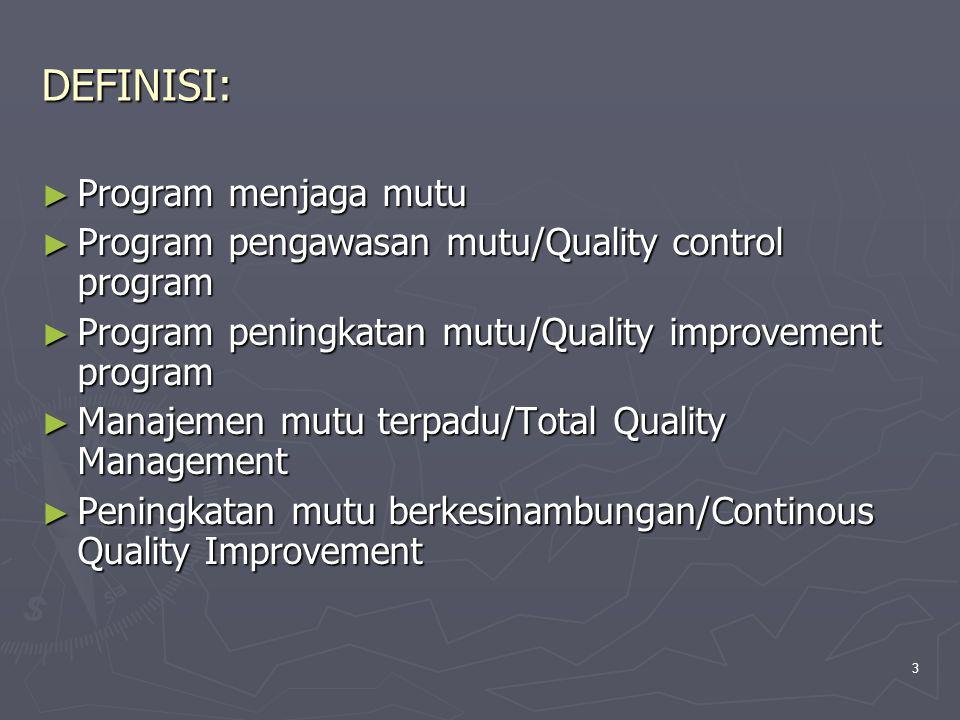3 DEFINISI: ► Program menjaga mutu ► Program pengawasan mutu/Quality control program ► Program peningkatan mutu/Quality improvement program ► Manajeme