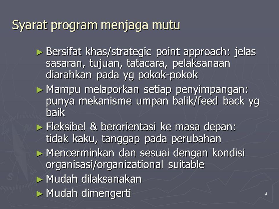 4 Syarat program menjaga mutu ► Bersifat khas/strategic point approach: jelas sasaran, tujuan, tatacara, pelaksanaan diarahkan pada yg pokok-pokok ► M