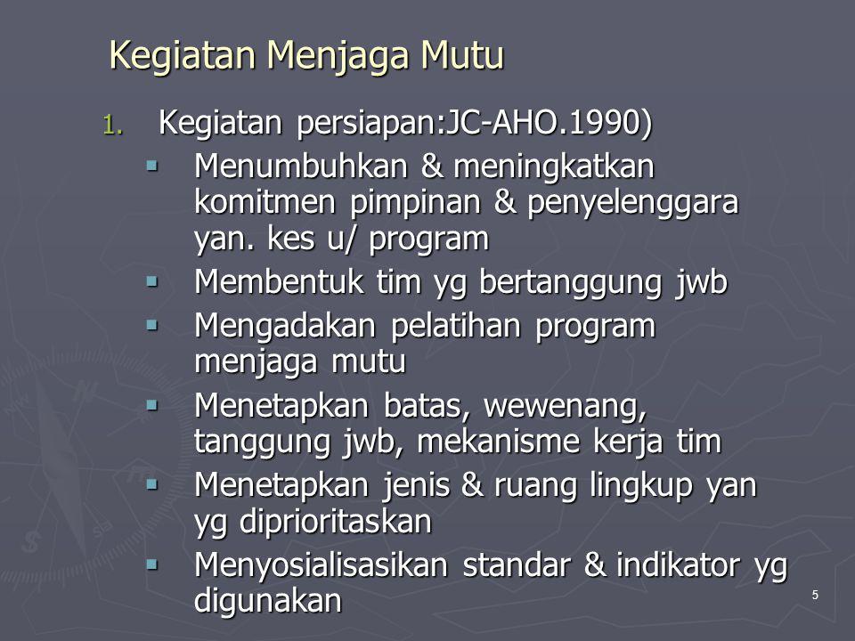 5 Kegiatan Menjaga Mutu 1. Kegiatan persiapan:JC-AHO.1990)  Menumbuhkan & meningkatkan komitmen pimpinan & penyelenggara yan. kes u/ program  Memben