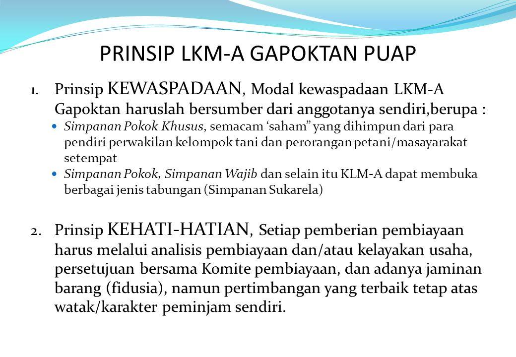PRINSIP LKM-A GAPOKTAN PUAP 1. Prinsip KEWASPADAAN, Modal kewaspadaan LKM-A Gapoktan haruslah bersumber dari anggotanya sendiri,berupa : Simpanan Poko