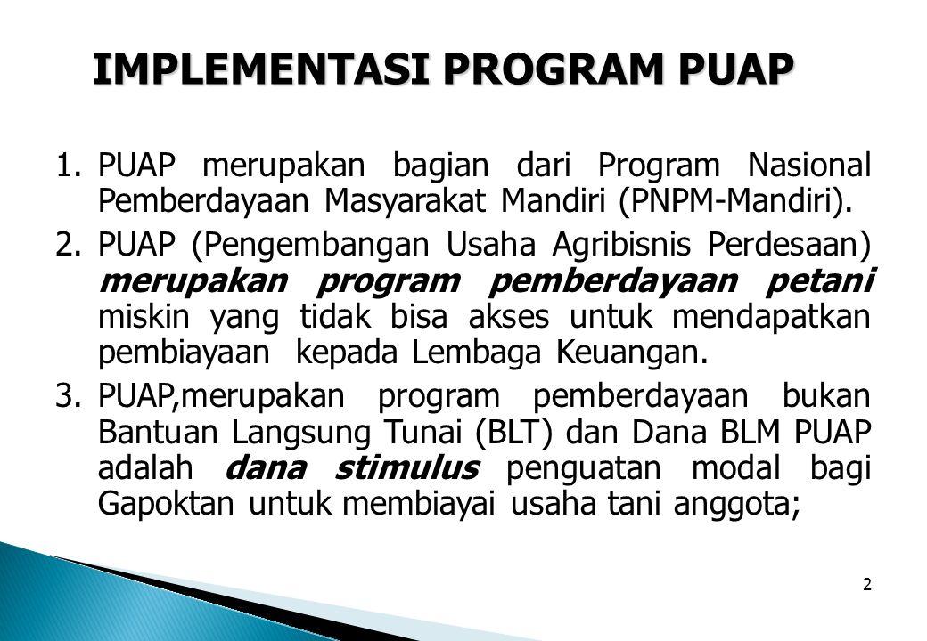 2 1.PUAP merupakan bagian dari Program Nasional Pemberdayaan Masyarakat Mandiri (PNPM-Mandiri). 2.PUAP (Pengembangan Usaha Agribisnis Perdesaan) merup