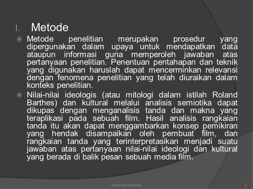 I. Metode  Metode penelitian merupakan prosedur yang dipergunakan dalam upaya untuk mendapatkan data ataupun informasi guna memperoleh jawaban atas p