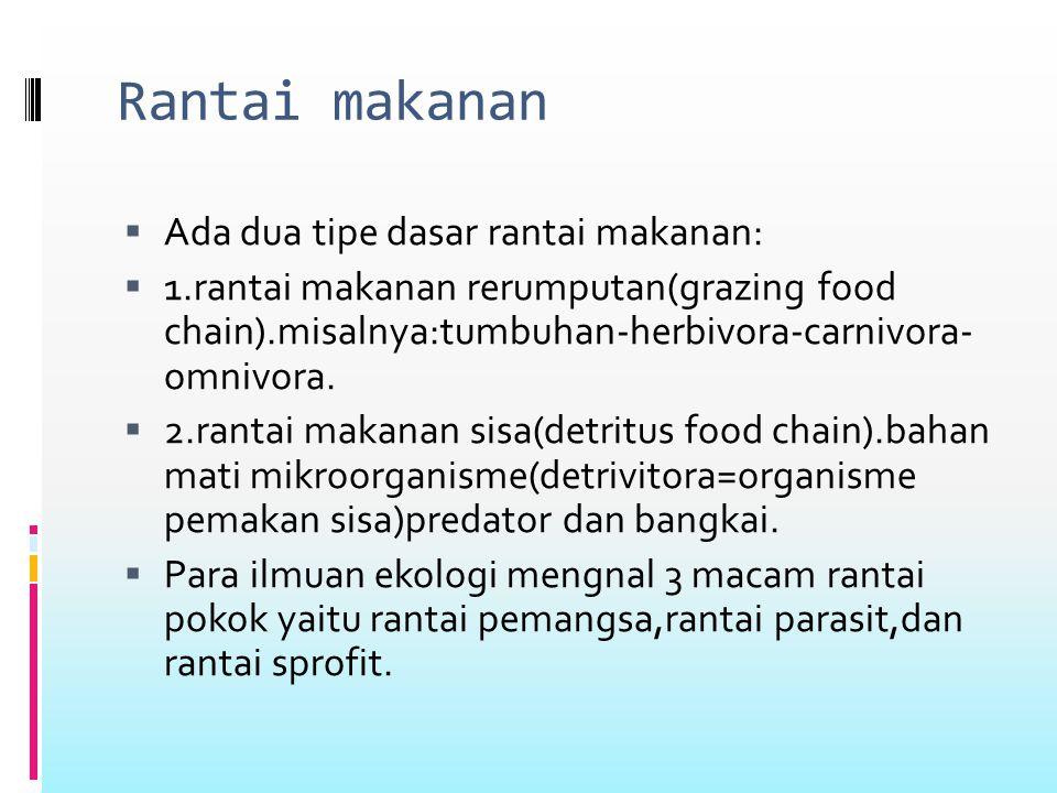 Mengenal rantai makanan  Rantai makanan adalah perpindahan energi makanan dari sumber daya tumbuhan melalui seri organisme atau melalui jenjang makan