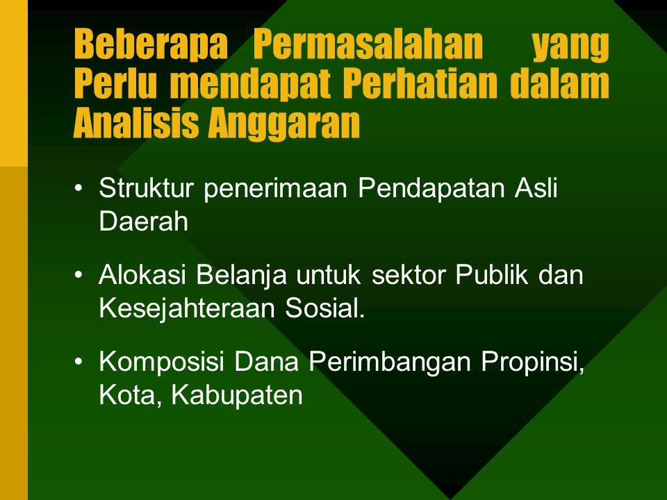 Pertanyaan Pokok Yang dapat di Jawab dari Analisis Anggaran Daerah Arah atau kecenderungan kebijakan pemerintah dan Belanja. Konsistensi Kebijakan Pen