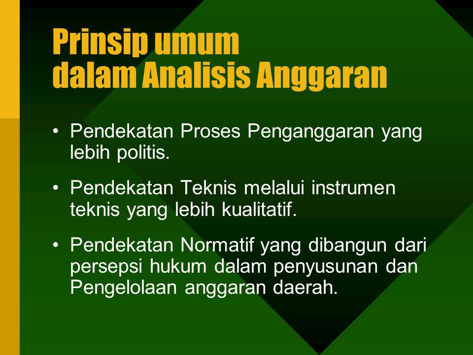 Prinsip umum dalam Analisis Anggaran Pendekatan Proses Penganggaran yang lebih politis.