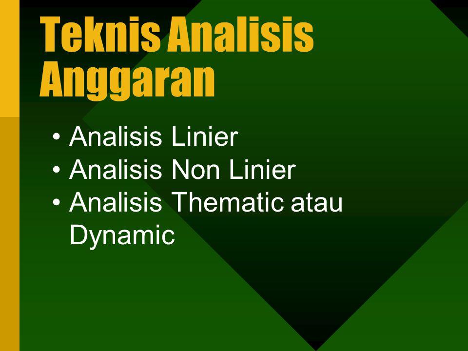 Teknis Analisis Anggaran Analisis Linier Analisis Non Linier Analisis Thematic atau Dynamic