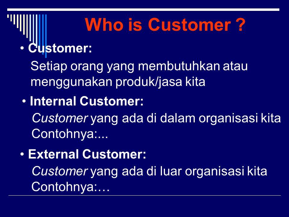 Who is Customer ? Customer: Setiap orang yang membutuhkan atau menggunakan produk/jasa kita Internal Customer: Customer yang ada di dalam organisasi k