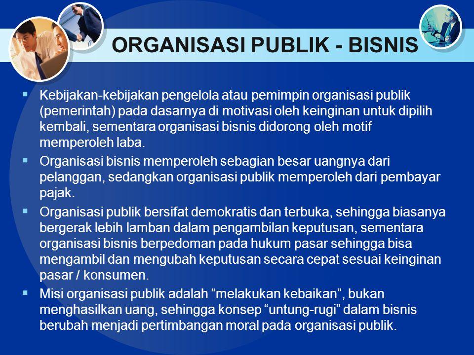 ORGANISASI PUBLIK - BISNIS  Kebijakan-kebijakan pengelola atau pemimpin organisasi publik (pemerintah) pada dasarnya di motivasi oleh keinginan untuk