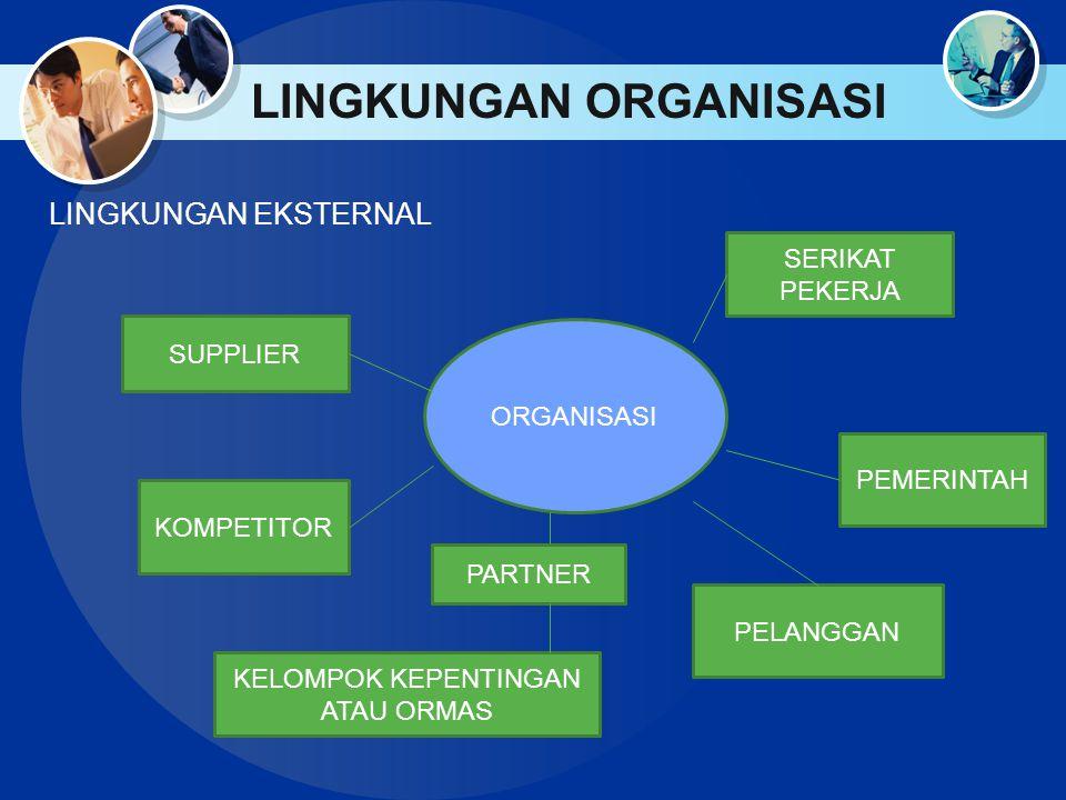 LINGKUNGAN ORGANISASI LINGKUNGAN EKSTERNAL ORGANISASI SERIKAT PEKERJA PEMERINTAH PELANGGAN PARTNER KELOMPOK KEPENTINGAN ATAU ORMAS KOMPETITOR SUPPLIER