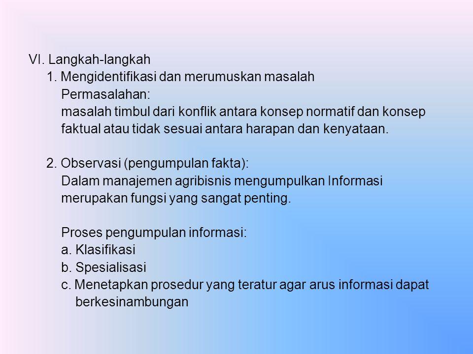 VI. Langkah-langkah 1. Mengidentifikasi dan merumuskan masalah Permasalahan: masalah timbul dari konflik antara konsep normatif dan konsep faktual ata