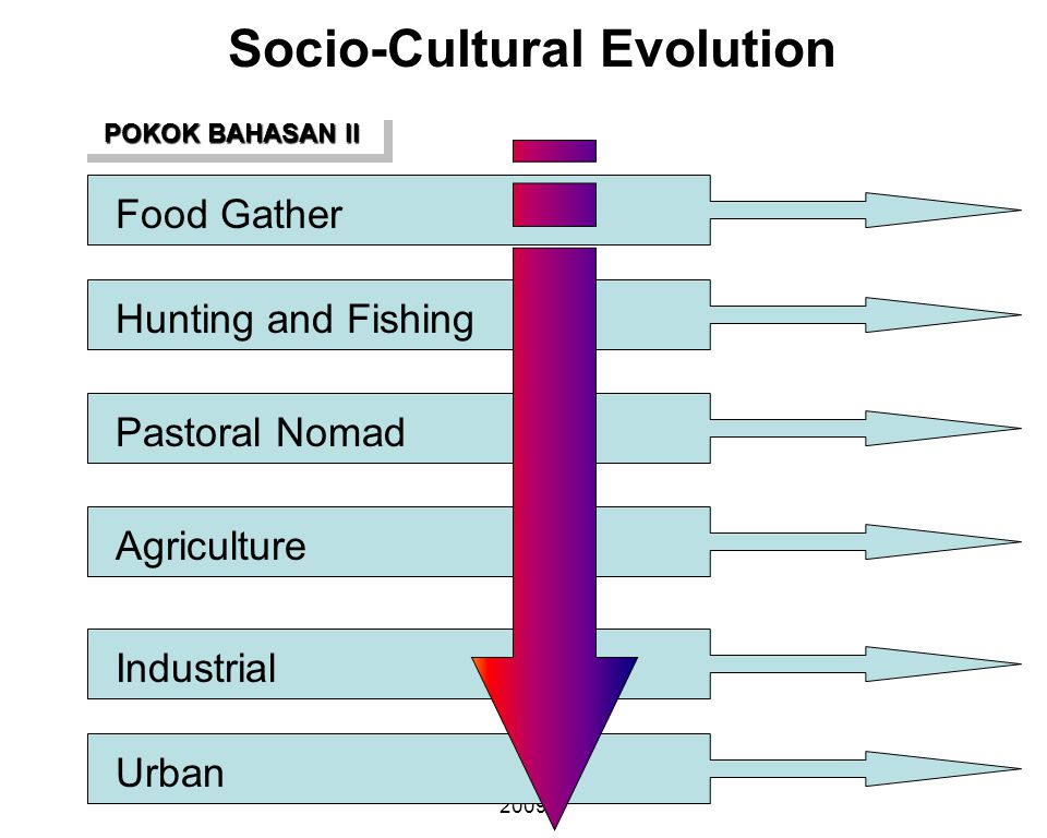 FISHERIES SOCIOLOGY TEAM 2009 Socio-Cultural Evolution Food GatherHunting and FishingPastoral NomadAgricultureIndustrialUrban POKOK BAHASAN II