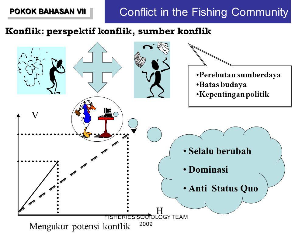 FISHERIES SOCIOLOGY TEAM 2009 Conflict in the Fishing Community Konflik: perspektif konflik, sumber konflik H V Perebutan sumberdaya Batas budaya Kepe