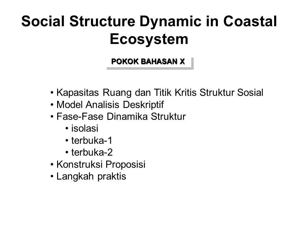 Social Structure Dynamic in Coastal Ecosystem POKOK BAHASAN X Kapasitas Ruang dan Titik Kritis Struktur Sosial Model Analisis Deskriptif Fase-Fase Din