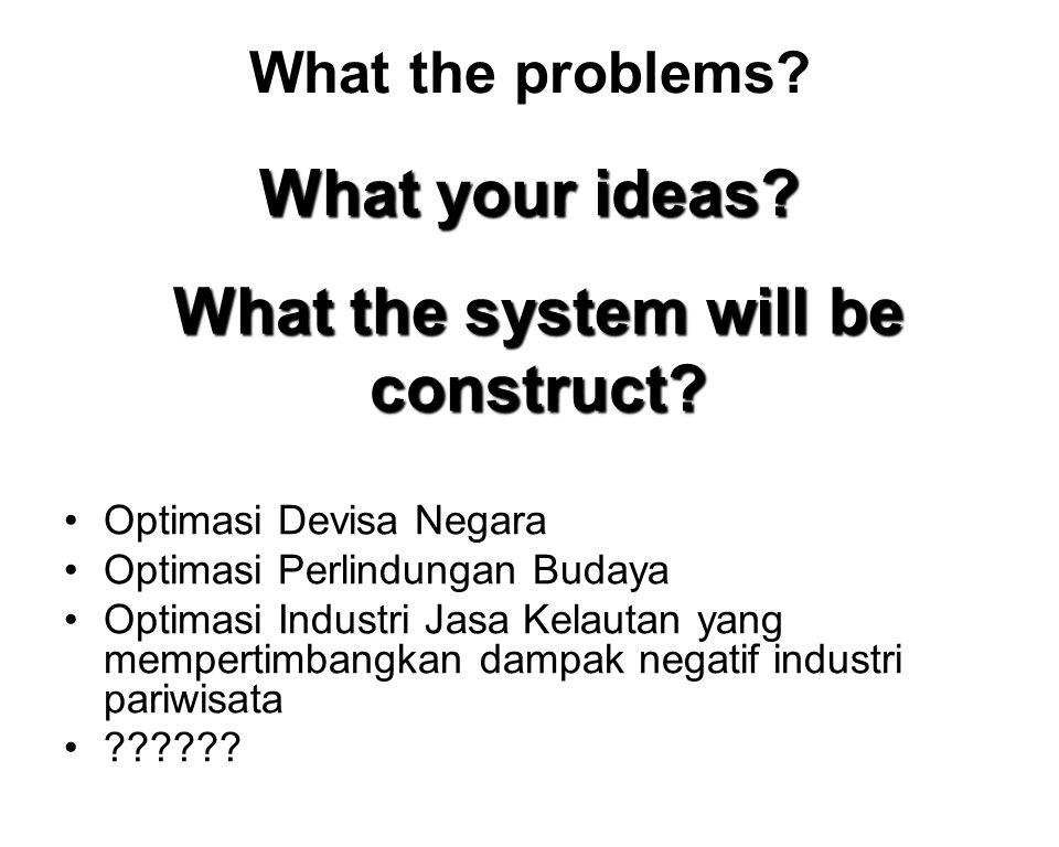 What the problems? Optimasi Devisa Negara Optimasi Perlindungan Budaya Optimasi Industri Jasa Kelautan yang mempertimbangkan dampak negatif industri p