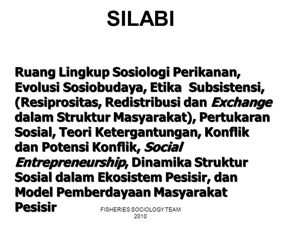 FISHERIES SOCIOLOGY TEAM 2010 SILABI Ruang Lingkup Sosiologi Perikanan, Evolusi Sosiobudaya, Etika Subsistensi, (Resiprositas, Redistribusi dan Exchan