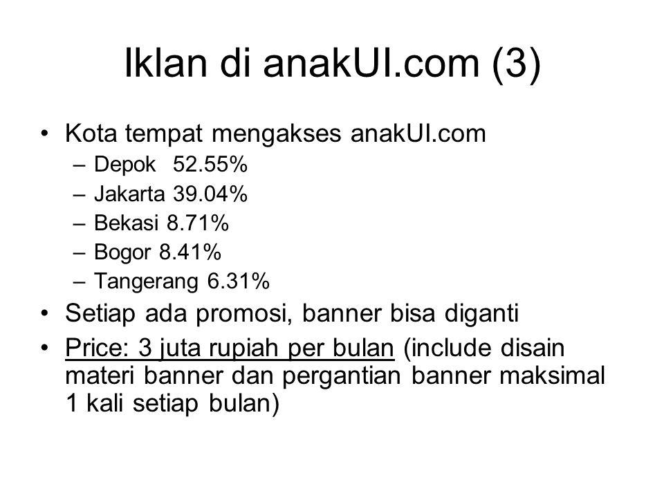 Iklan di anakUI.com (3) Kota tempat mengakses anakUI.com –Depok52.55% –Jakarta 39.04% –Bekasi 8.71% –Bogor 8.41% –Tangerang 6.31% Setiap ada promosi, banner bisa diganti Price: 3 juta rupiah per bulan (include disain materi banner dan pergantian banner maksimal 1 kali setiap bulan)
