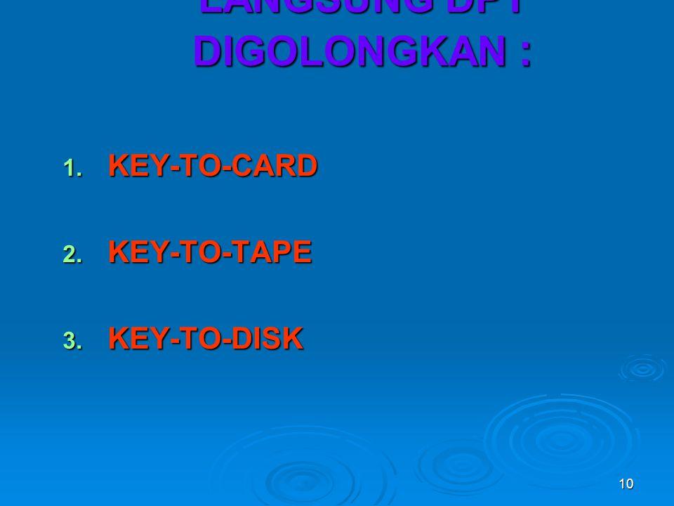 10 2. ALAT INPUT TDK LANGSUNG DPT DIGOLONGKAN : 1. KEY-TO-CARD 2. KEY-TO-TAPE 3. KEY-TO-DISK