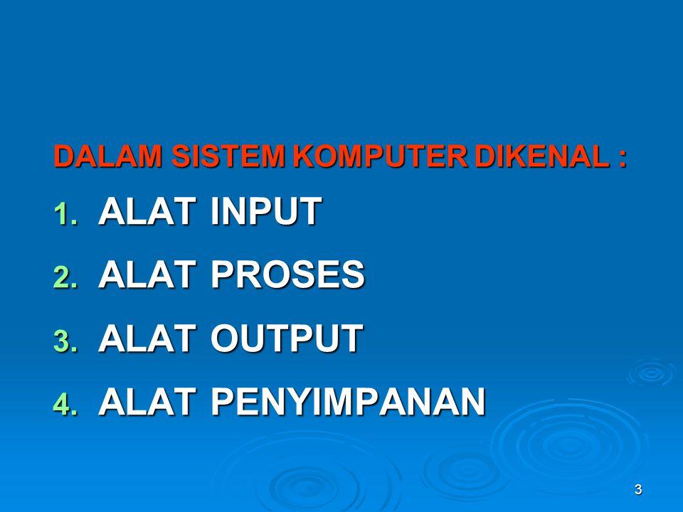 14 3.ALAT OUTPUT Output yang dihasilkan dari pengolahan dapat digolongkan : 1.