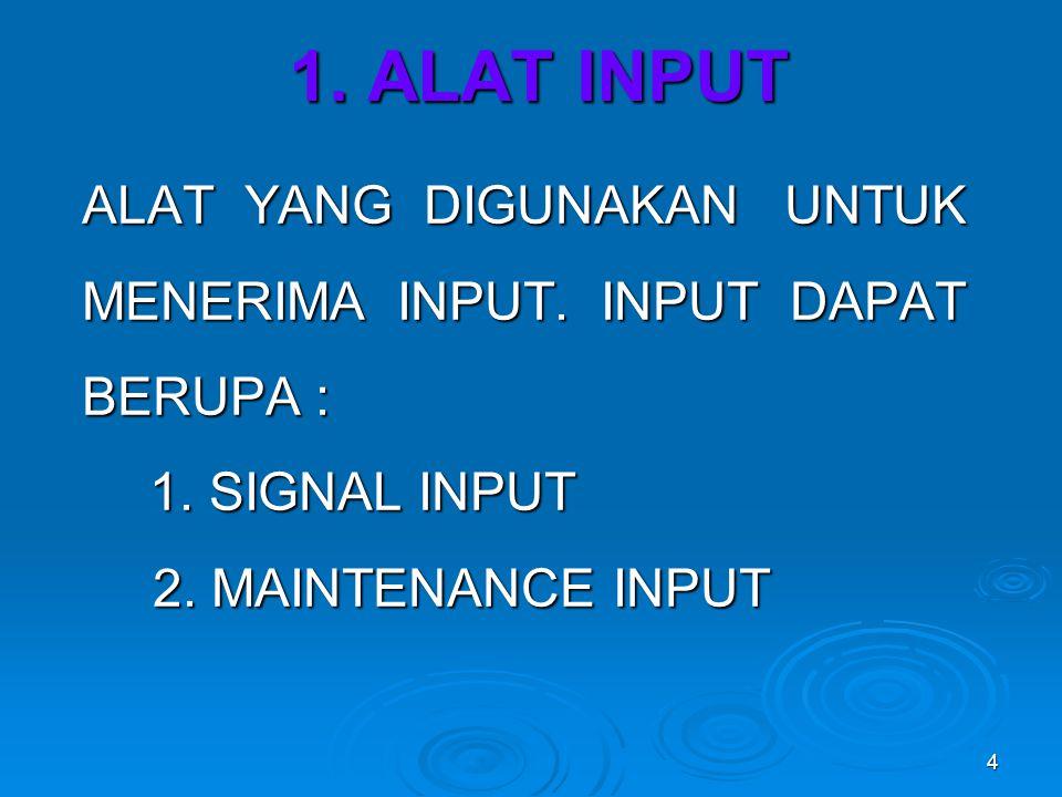 4 1.ALAT INPUT ALAT YANG DIGUNAKAN UNTUK MENERIMA INPUT.