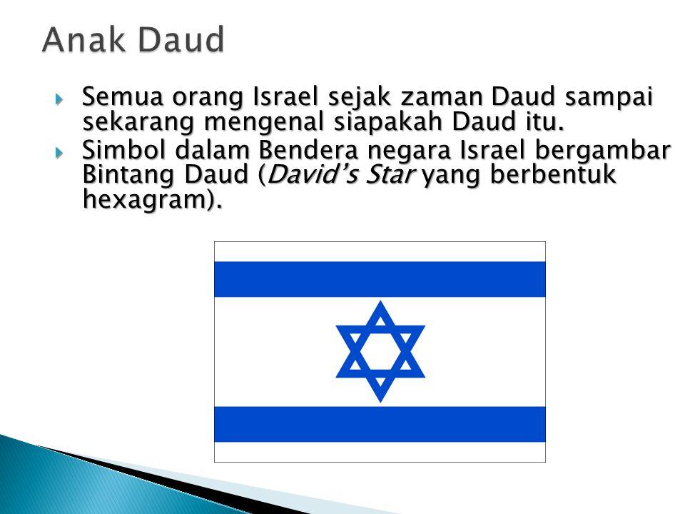  Semua orang Israel sejak zaman Daud sampai sekarang mengenal siapakah Daud itu.  Simbol dalam Bendera negara Israel bergambar Bintang Daud (David's