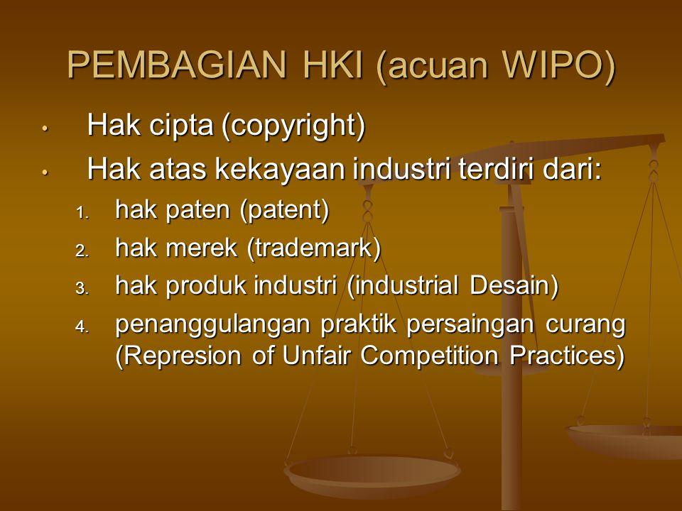 PEMBAGIAN HKI (acuan WIPO) Hak cipta (copyright) Hak cipta (copyright) Hak atas kekayaan industri terdiri dari: Hak atas kekayaan industri terdiri dari: 1.