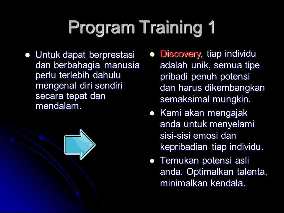 Program Training 1 Untuk dapat berprestasi dan berbahagia manusia perlu terlebih dahulu mengenal diri sendiri secara tepat dan mendalam.