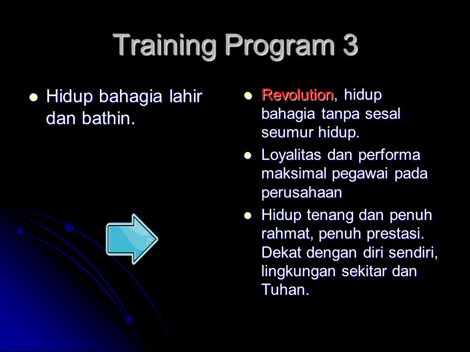 Training Program 3 Hidup bahagia lahir dan bathin.