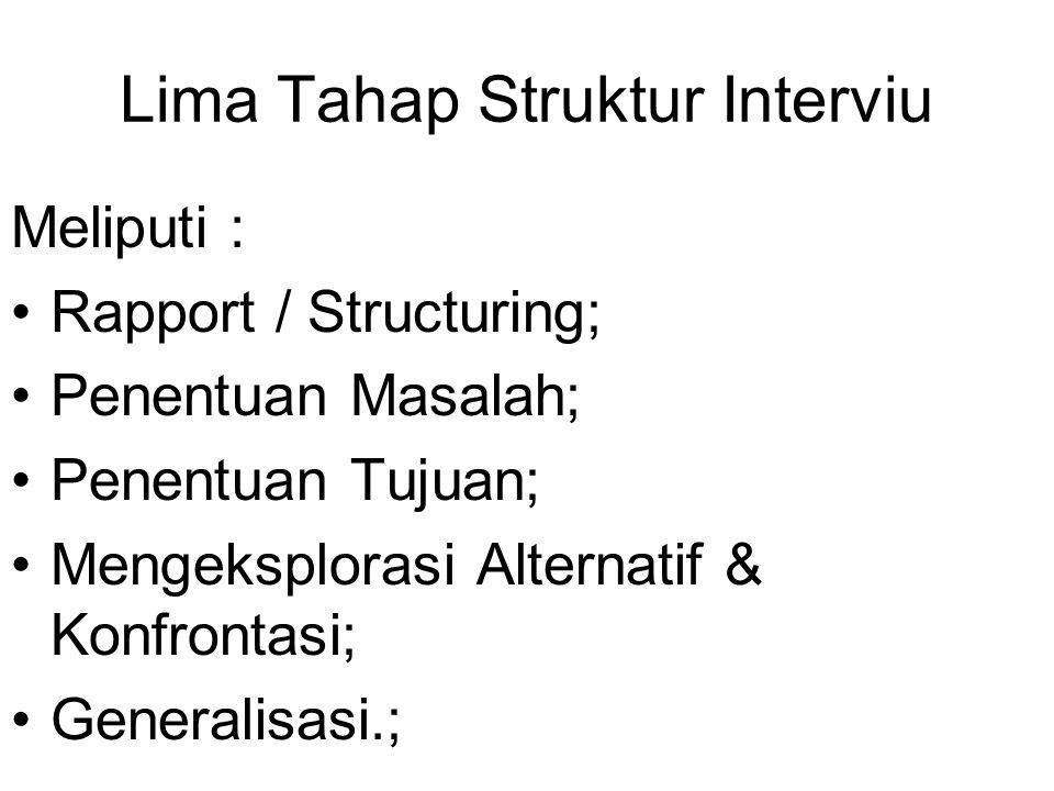 Lima Tahap Struktur Interviu Meliputi : Rapport / Structuring; Penentuan Masalah; Penentuan Tujuan; Mengeksplorasi Alternatif & Konfrontasi; Generalis