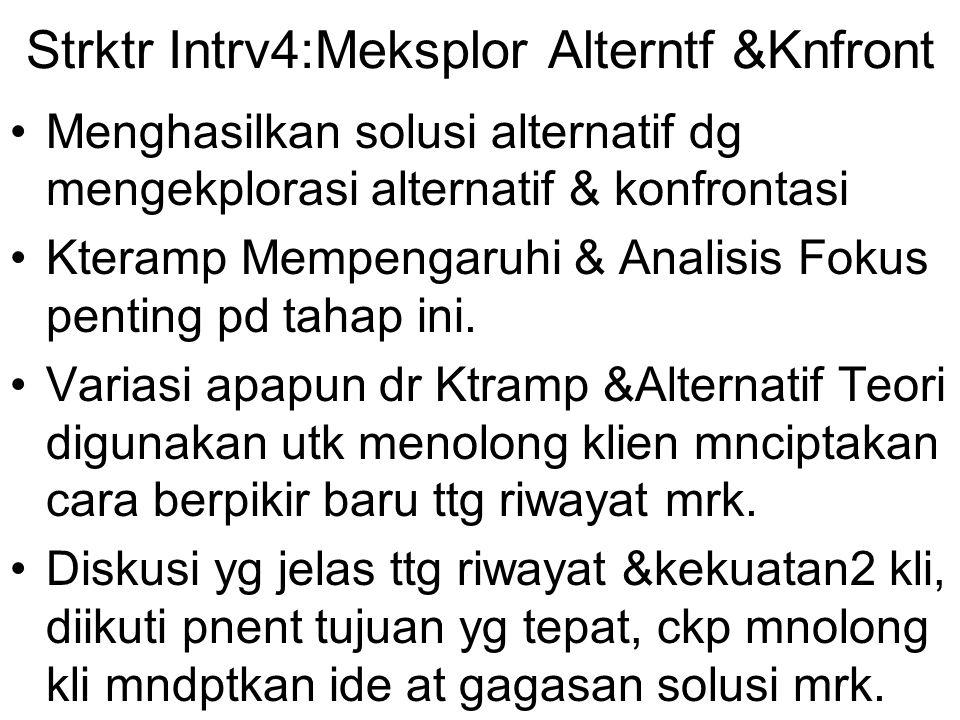 Strktr Intrv4:Meksplor Alterntf &Knfront Menghasilkan solusi alternatif dg mengekplorasi alternatif & konfrontasi Kteramp Mempengaruhi & Analisis Foku