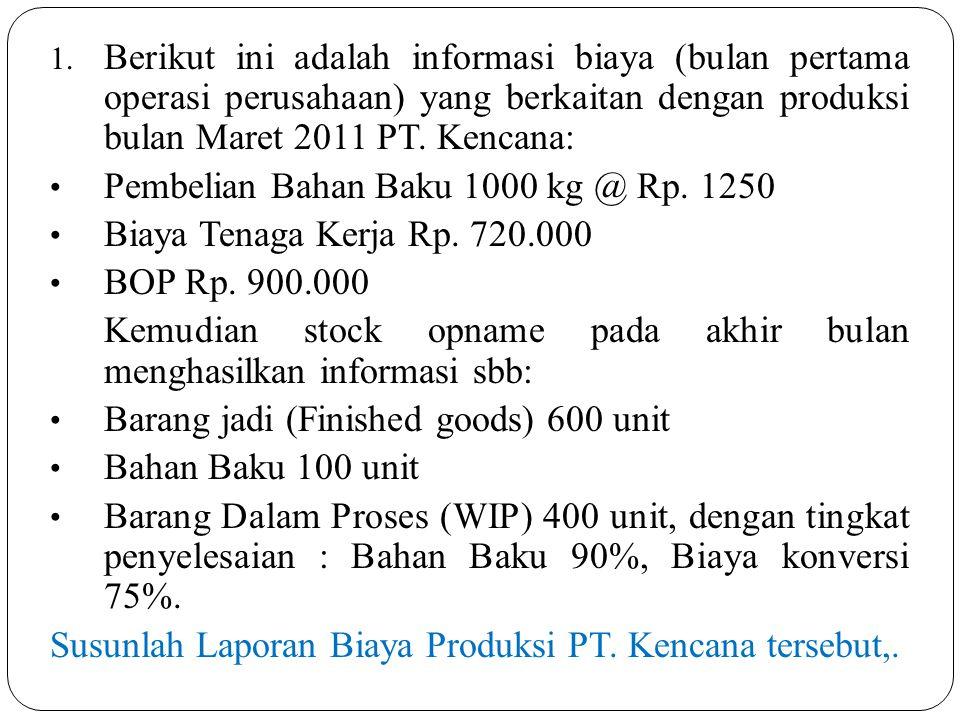 Jawab: Diketahui data biaya, sbb: B.BB (1000 – 100) unit x Rp.