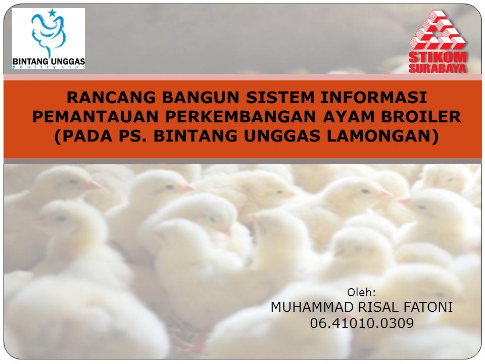 Latar Belakang Peternakan Ayam Broiler SI Pemantauan Produksi Ayam Pencatatan Jumlah Ayam Berat rata-rata Konsumsi Pakan Kondisi Ayam Kebutuhan Daging Ayam Evaluasi Kinerja Produksi