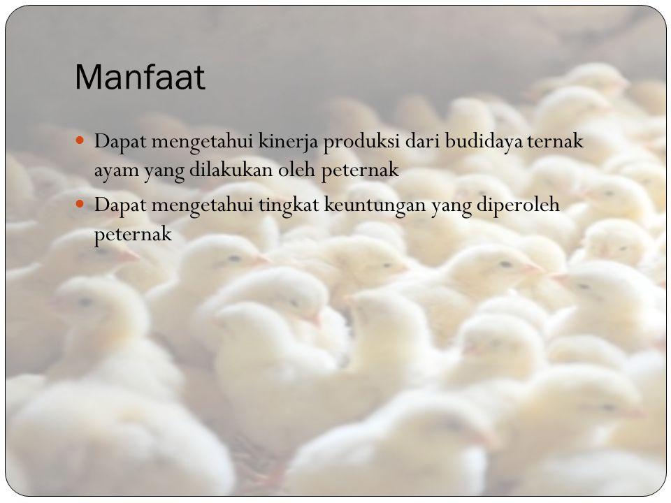 Manfaat Dapat mengetahui kinerja produksi dari budidaya ternak ayam yang dilakukan oleh peternak Dapat mengetahui tingkat keuntungan yang diperoleh pe