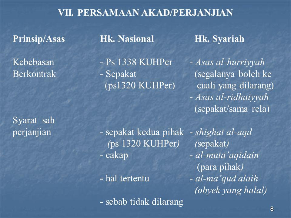 8 VII. PERSAMAAN AKAD/PERJANJIAN Prinsip/AsasHk. Nasional Hk. Syariah Kebebasan - Ps 1338 KUHPer - Asas al-hurriyyah Berkontrak- Sepakat (segalanya bo