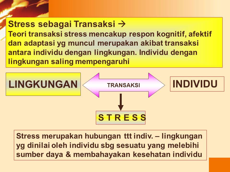 Gangguan yg terjadi akibat berbagai stressor. Fokusnya adalah reaksi individu terhadap kejadian yg dihadapi. Stressor Virus Gg.Keseimbangan Tubuh SAKI
