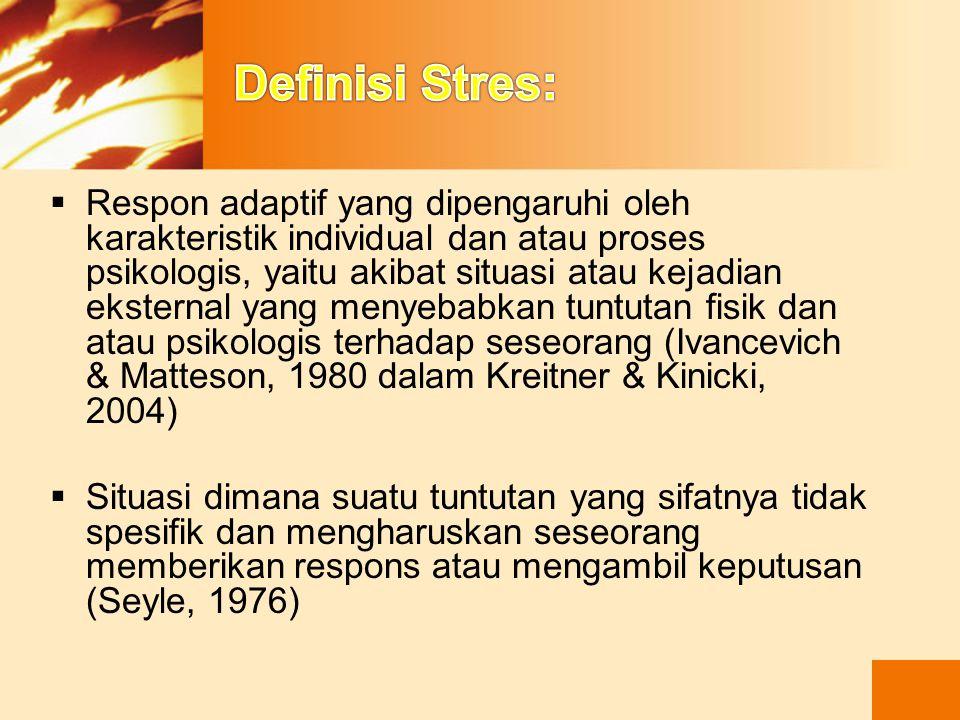 PERENCANAAN Tindakan umum yang dilakukan pada stress  Tiga cara dalam menghadapi stress : 1.Mengurangi situasi stress a.