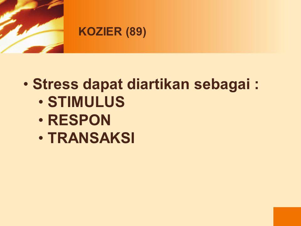 KOZIER (89) Stress memberi dampak scr total pd individu yaitu fisik, emosi, intelektual, sosial, spiritual Stress fisik  mengancam keseimbangan fisik
