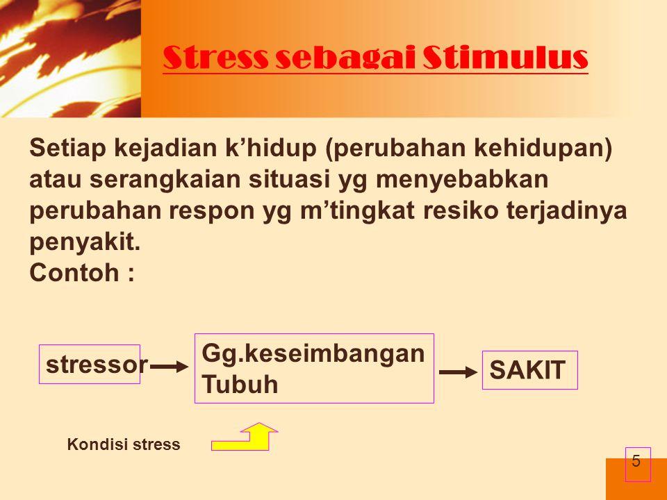 Faktor yang mempengaruhi manifestasi stres  Sifat stresor  Persepsi terhadap stresor  Jumlah stresor  Durasi terpapar stresor  Pengalaman dengan stresor pembanding  Usia  tipe kepribadian  Tantangan  Komitmen  Kontrol