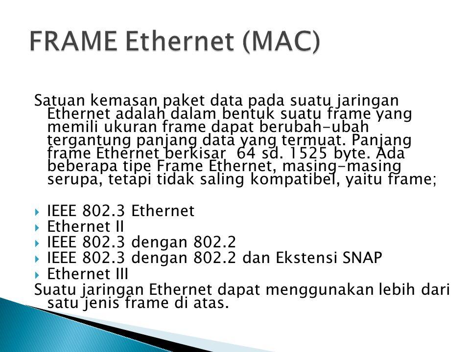 Satuan kemasan paket data pada suatu jaringan Ethernet adalah dalam bentuk suatu frame yang memili ukuran frame dapat berubah-ubah tergantung panjang data yang termuat.